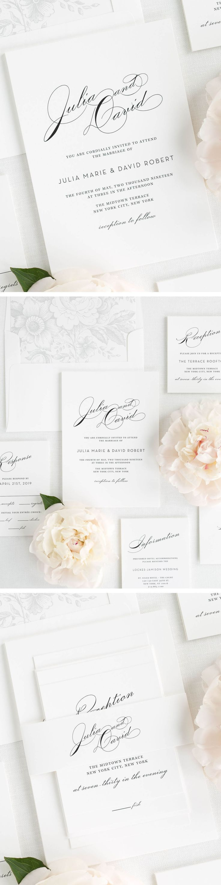 Vintage glam wedding invitations sophisticated wedding this sophisticated wedding invitation suite features large names in an elegant vintage script font shown monicamarmolfo Image collections