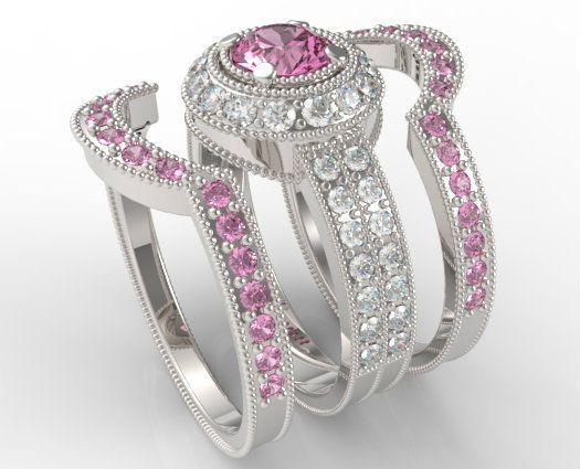 14k White Gold Fn Mens Las Round Diamond Bridal Wedding Trio Ring Set 2 10 Ct