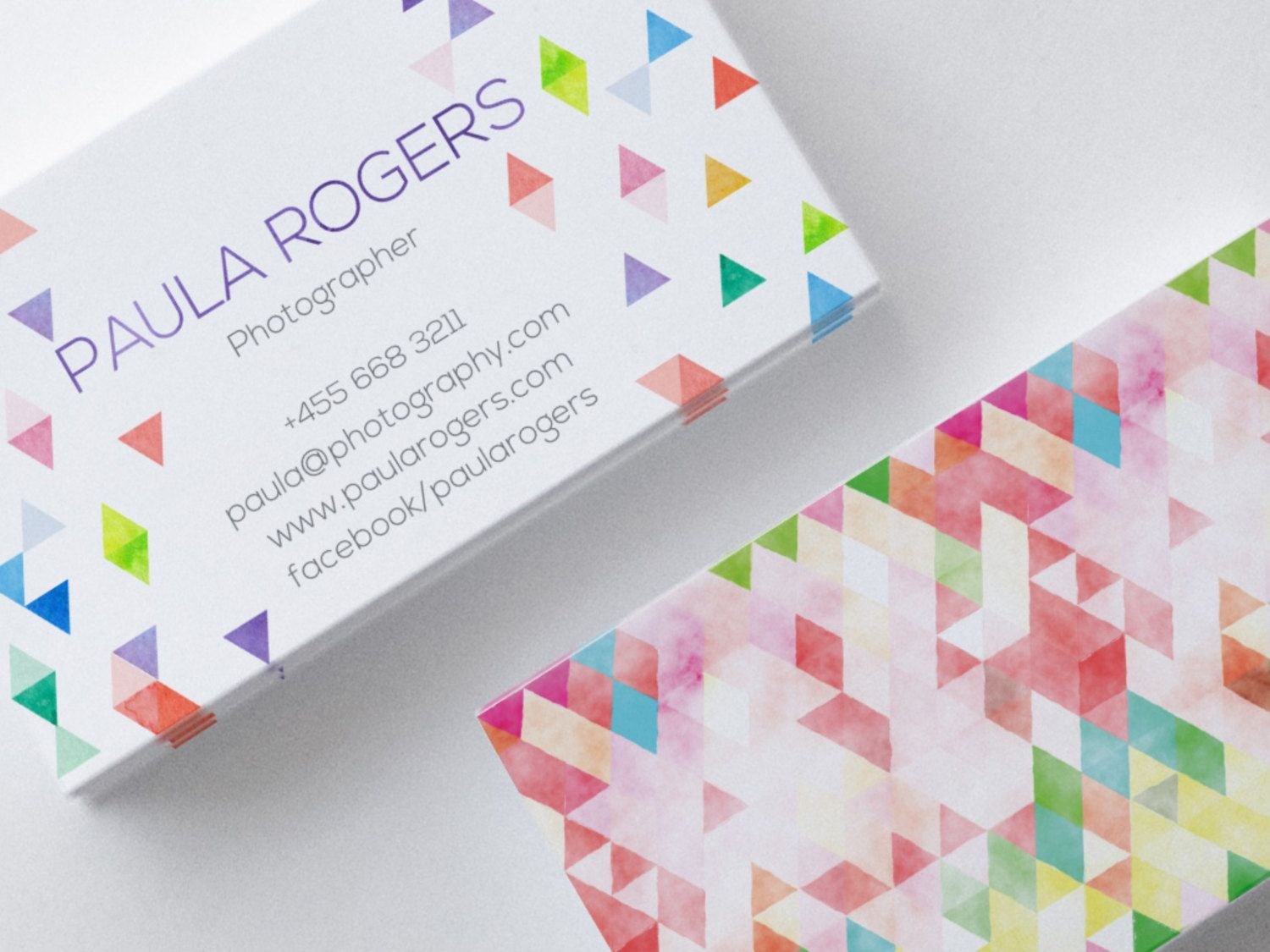 Geometric Business Card Design, 2 Sides, Watercolor, Multicolor, Bright, Triangle, Customizable by SmallBottleCreations on Etsy