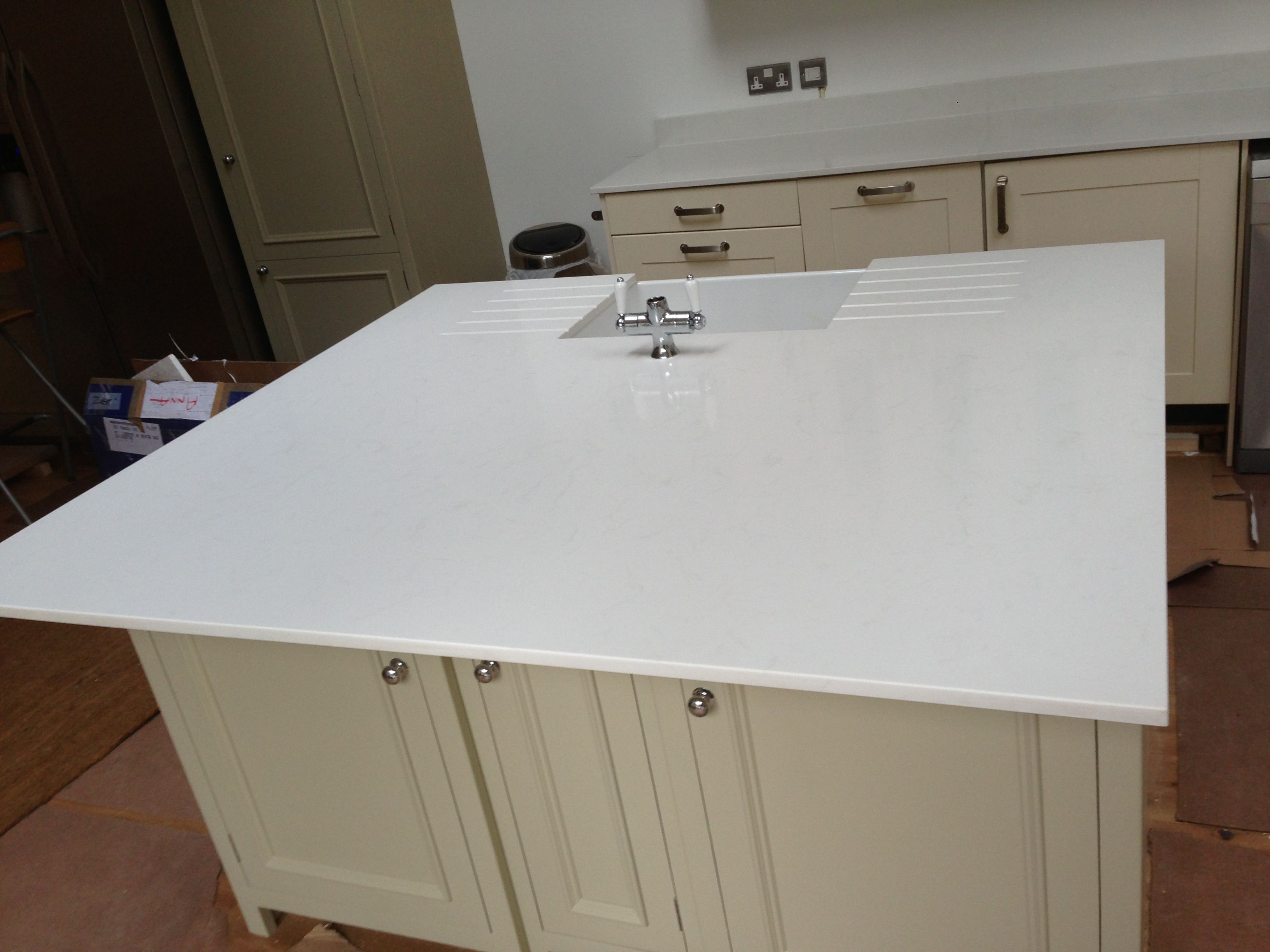 Unistone #Carrara quartz #island worktop in 20mm with #belfast sink ...