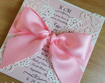 Rustic Laser Cut Wedding Invitation,Gate Fold Laser Cut Wedding Invitations with ribbon and Rhinestone