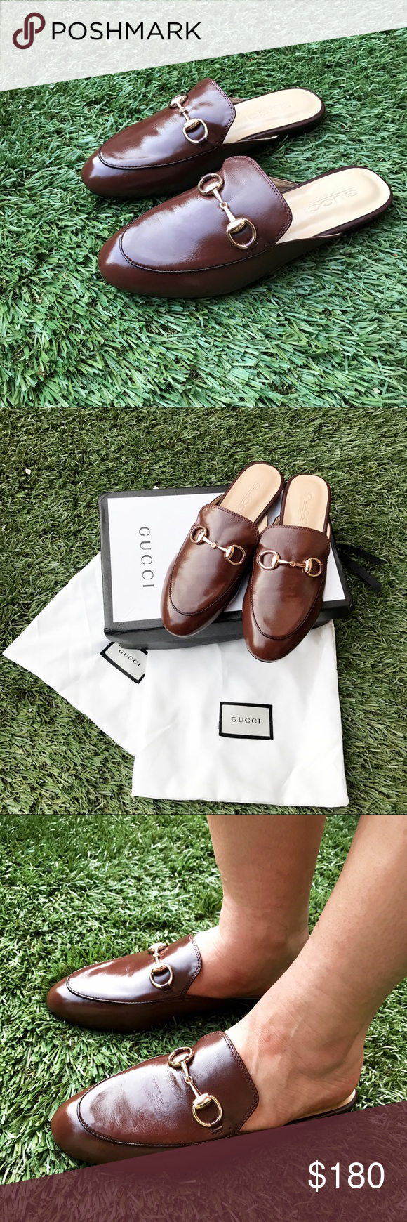 bb6a6c544c4 Gucci Princetown faux brown mule slide loafers Faux Gucci princetown gold  clasp brown leather loafers. Slides   mules. Size 38 or 7.5. New never been  worn