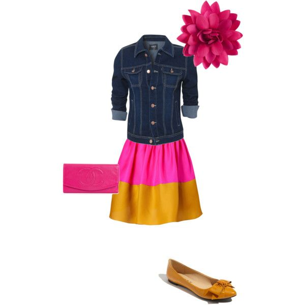 hot pink, yellow and denim, created by hanna-apperson on Polyvore