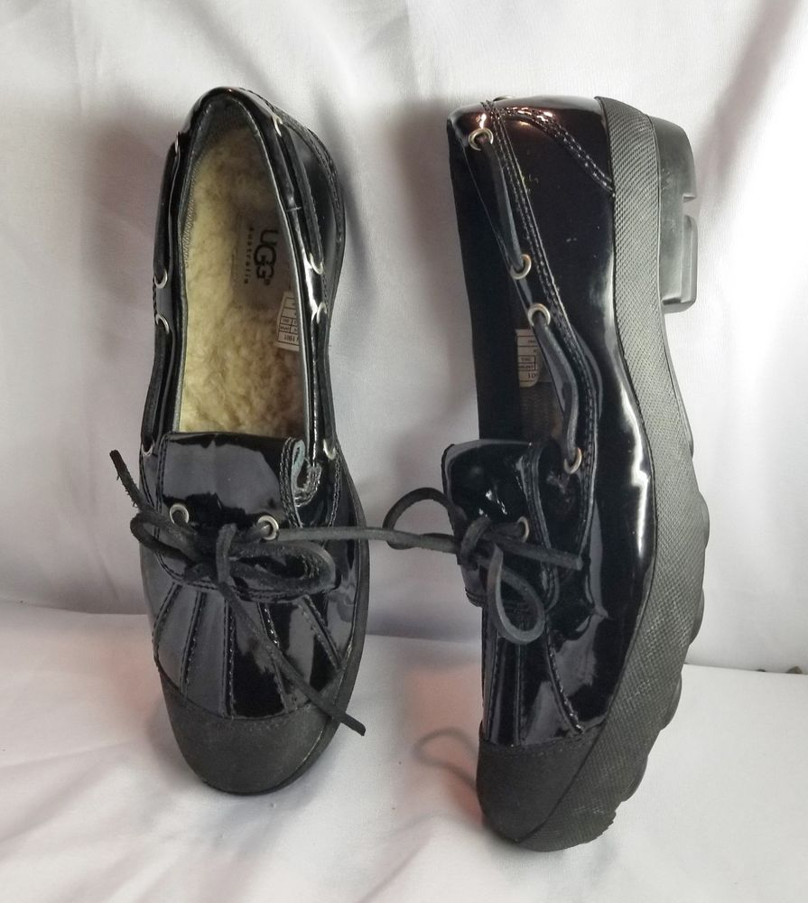 e6423b4a574 9.5 UGG 1901 Ashdale Duck Shoes Black Patent Leather Shearling Lined ...