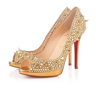 Now Buy Christian Louboutin Yolanda Spikes Peep Toe Pumps Gold Cheap Save  Up From Outlet Store at Footlocker.