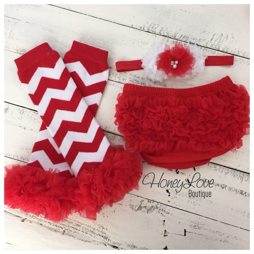 Red White Chevron leg warmers, matching headband bow