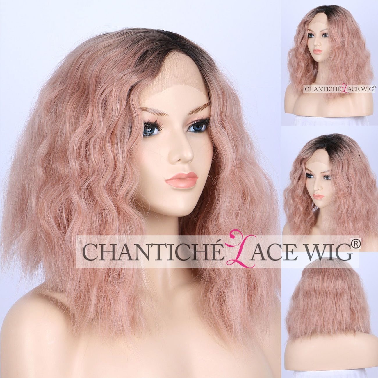 Short curly ombre pink synthetic hair lace front wigs for women heat