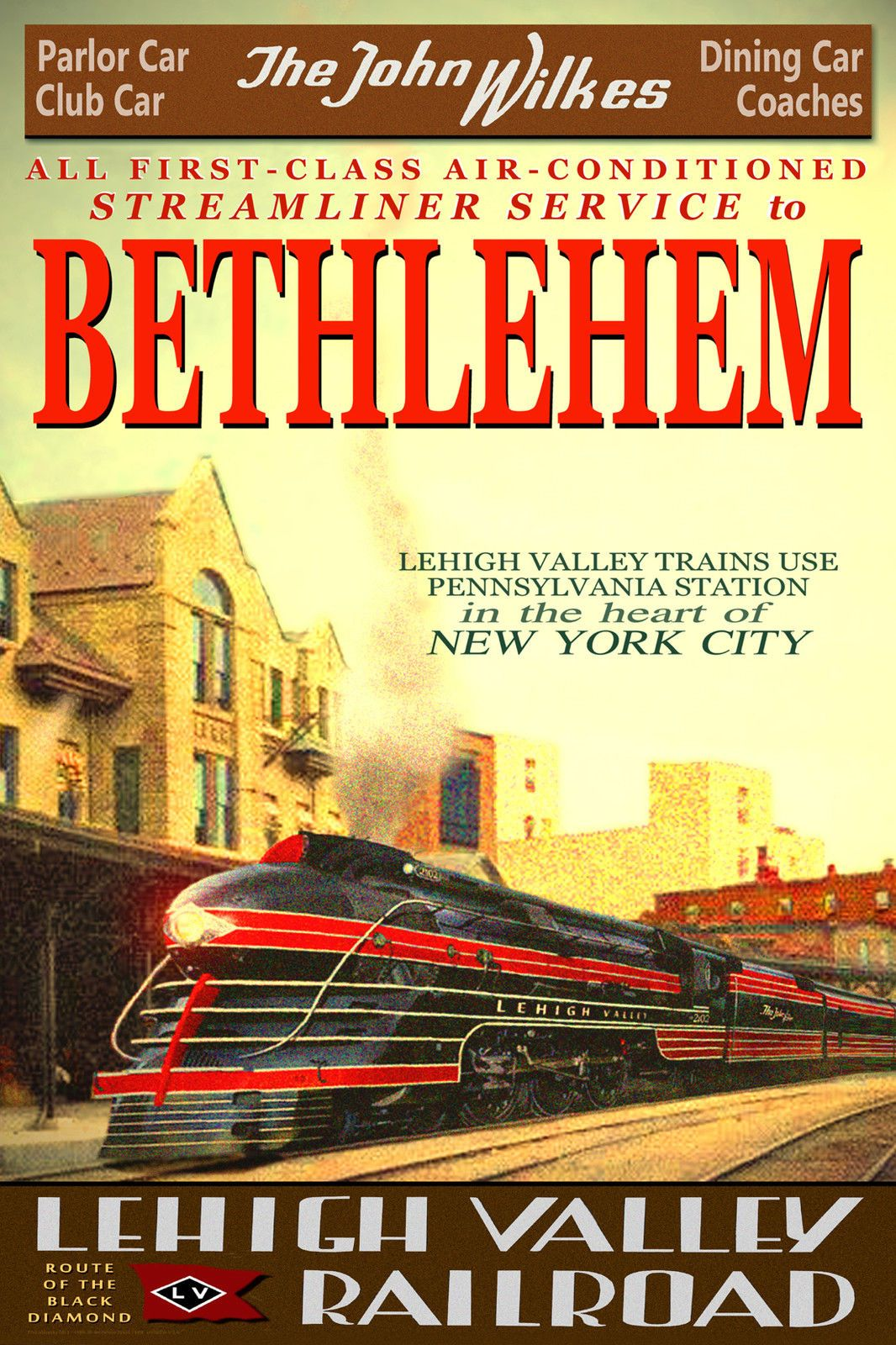 BETHLEHEM PA Lehigh Valley Railroad JOHN WILKES New Train Poster Art Print 124