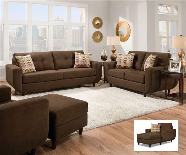 Eusebia Chocolate Fabric Wood Living Room Sets
