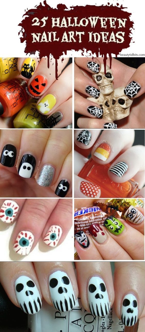 halloween nail art ideas: | Маникюр | Pinterest | Fun nails
