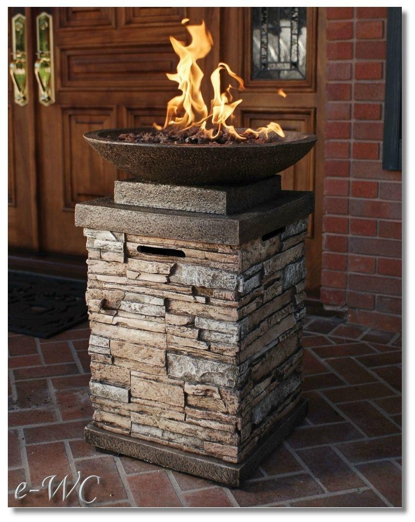 Outdoor Stone Column Lp Propane Gas Firepit Fireplace Ebay Outdoor Fire Pit Backyard Fire Outdoor Fire