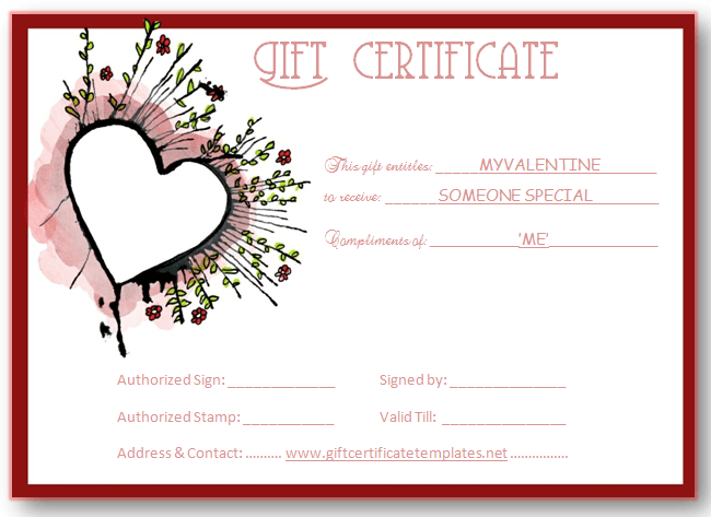 Abstract Heart Gift Certificate Template  Beautiful Printable