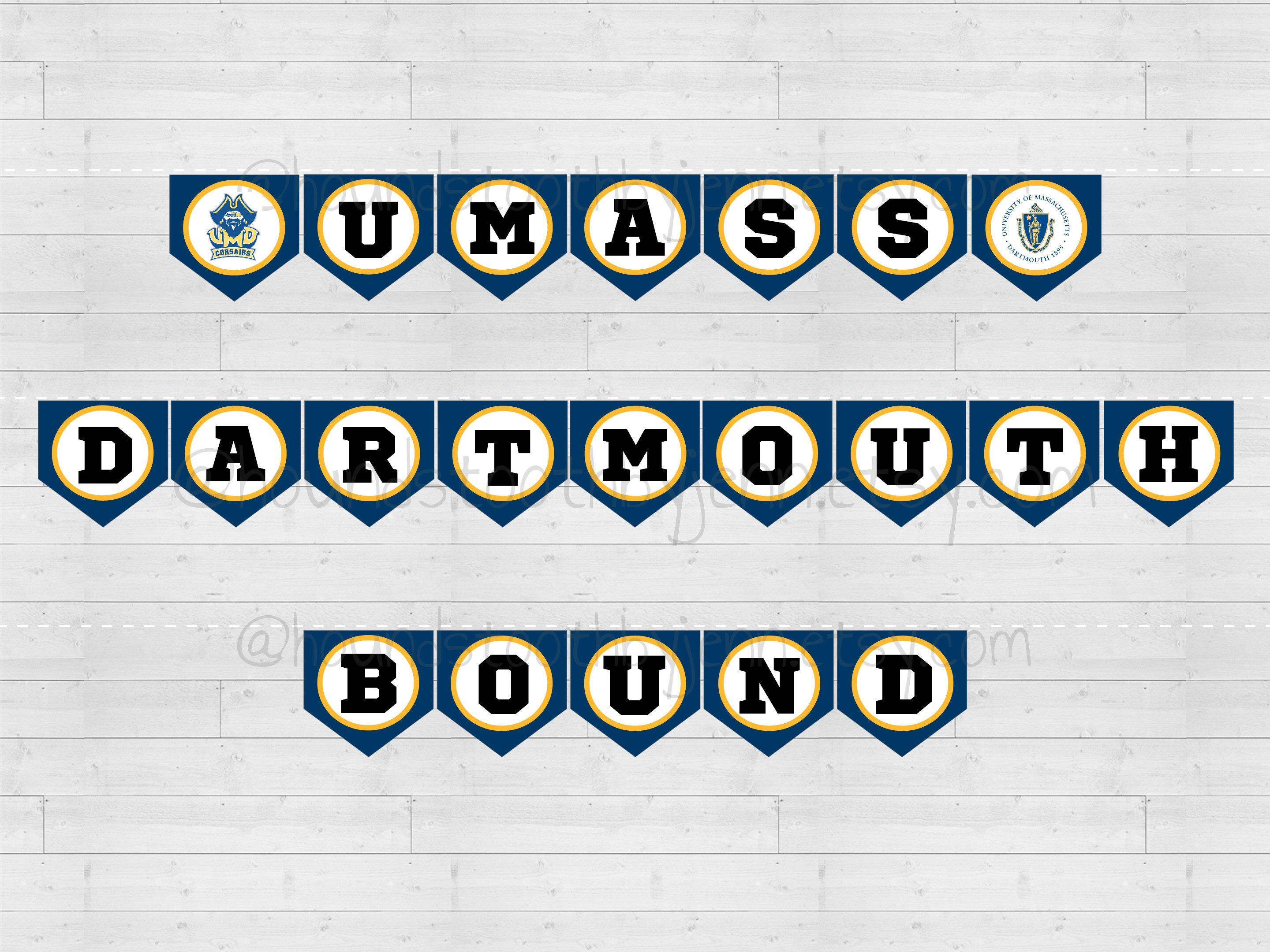 graphic regarding Printable Pennants referred to as UMASS DARTMOUTH Sure Banner Printable! UM Dartmouth