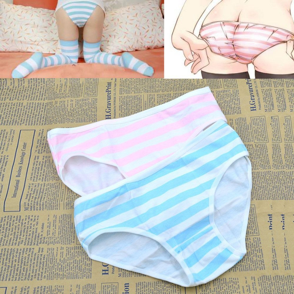 c46444bfb6 Cute Women Girl Anime Style Intimate Panties Blue Pink Green Striped  Underwear Cosplay Accessories