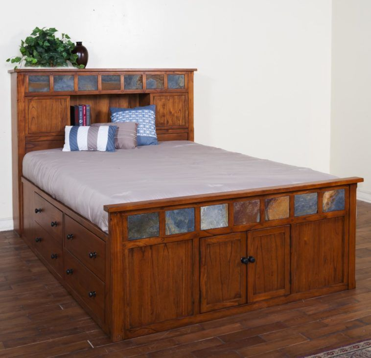 Rustic Style Captain Bed Queen Size, Queen Captains Bed With Bookcase Headboard