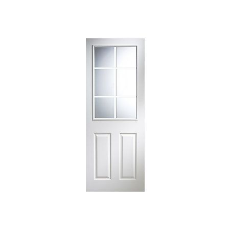 6 panel pre painted white woodgrain glazed internal door - Pre painted white interior doors ...
