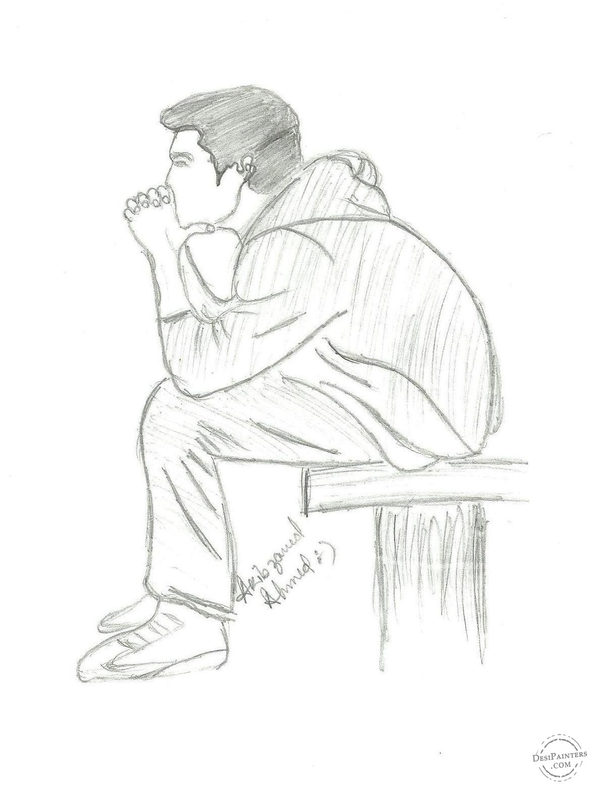 Alone Boy Painting Pencil Sketch