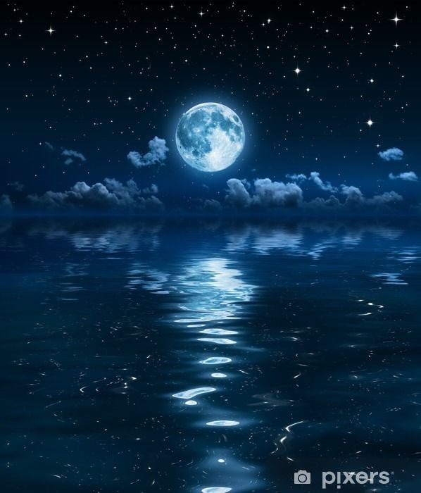 super moon and clouds in the night on sea Wall Mural • Pixers - We live to change
