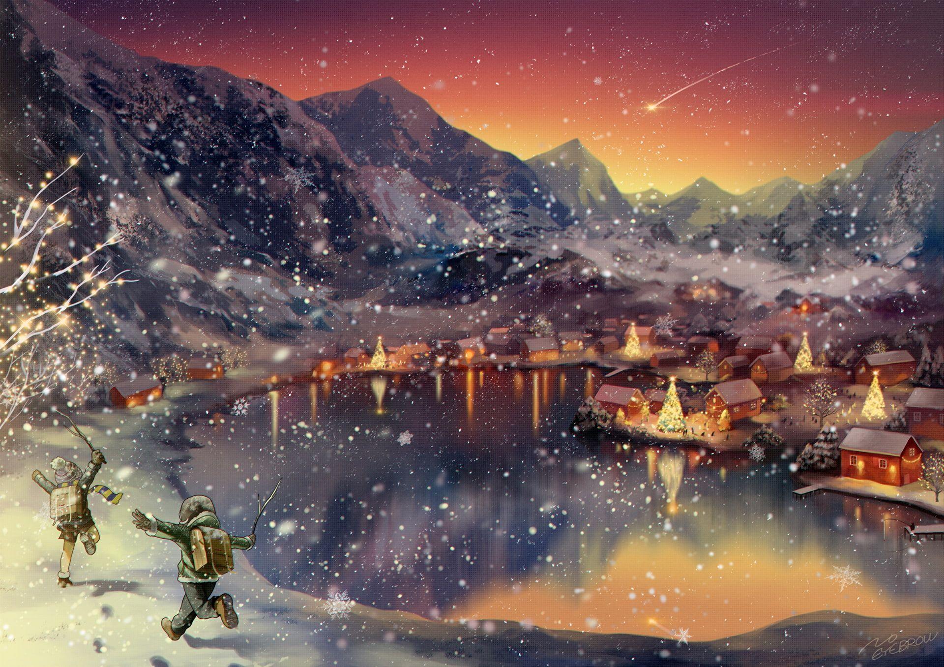 Landscape Anime Winter Mountains Sunset Artwork Lake Christmas 1080p Wallpaper Hdwallpa Beautiful Scenery Wallpaper Sunset Artwork Scenery Wallpaper