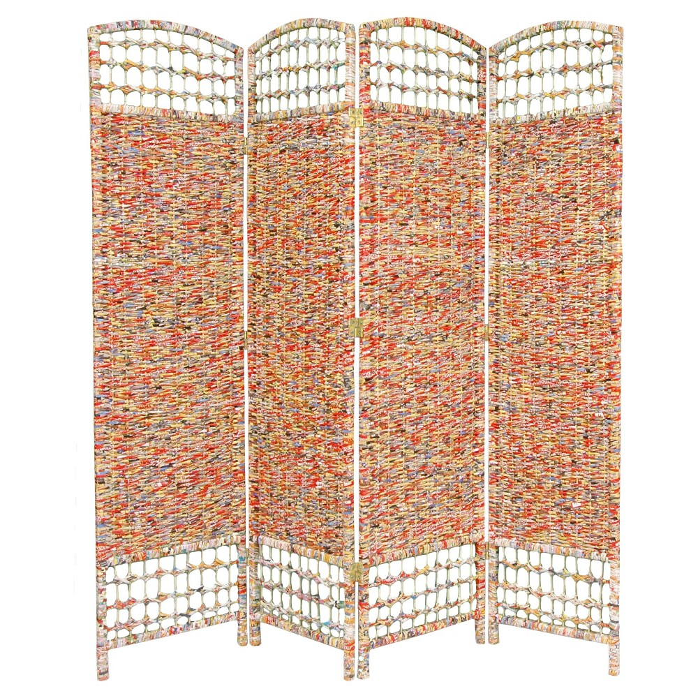 5 1/2 ft. Tall Recycled Magazine Room Divider 3 Panels - Oriental Furniture,