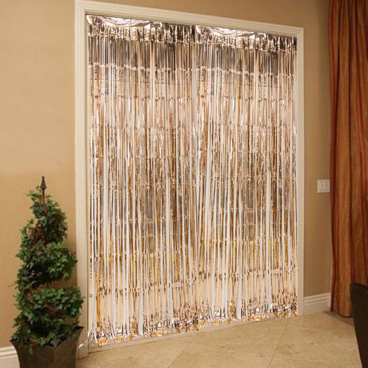 5 39 Gbp Rose Gold Foil Fringe Curtain 245cm Party Wedding