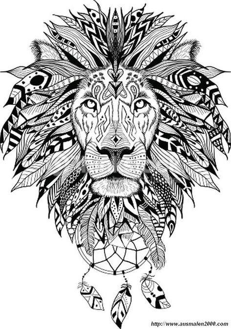 ausmalbild das wilde tier  löwen tätowierung federtattoos