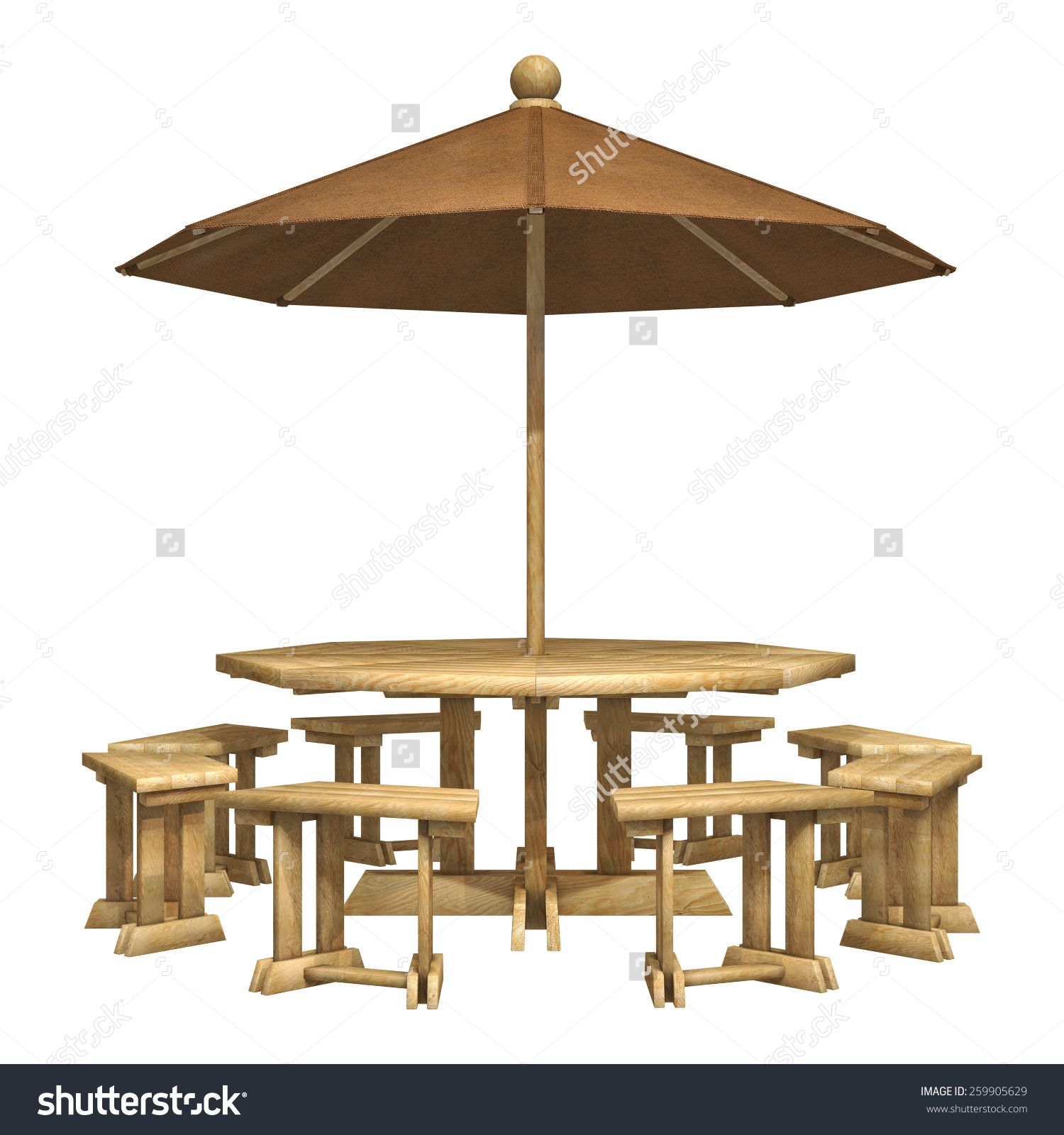 Outdoor Dining Table Sets Wrought Iron Garden Furniture Digital Render Of Wooden All Weather Patio Chairs And Umbrella Set Stock Photo Isolated On White Backgro