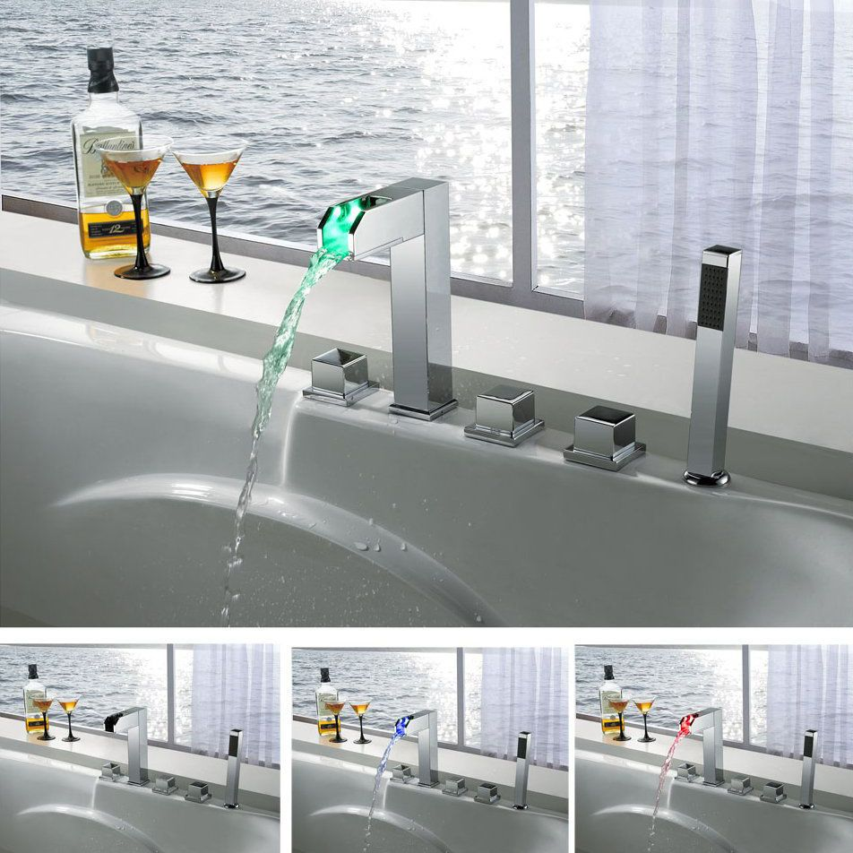 Modern Led Waterfall Colour Changing 5 Hole Bath Shower