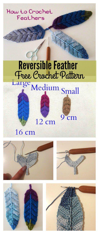 Reversible Feather Free Crochet Pattern | Ganchillo, Tejido y Pluma