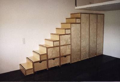 Treppenschrank In Multiplex Ahorn Rollkasten A 10 005 Deco