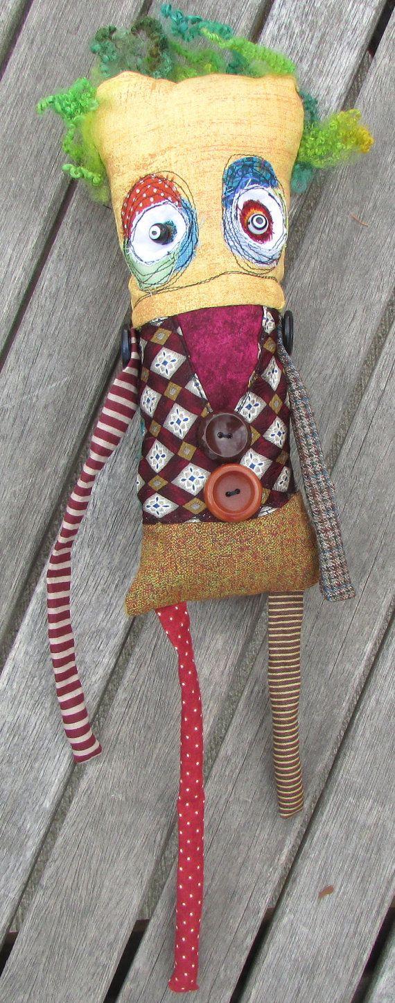 Fredrick, the yellow crazy eyed creature handmade ooak art doll