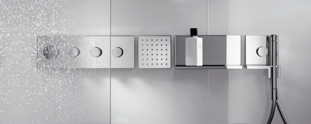 Axor Starck Thermostatic Shower Module Finish Set 360 Available At Uk Bathrooms Bathroom Axor Shower Bathroomideas Shower Shelves Shower Taps Hansgrohe