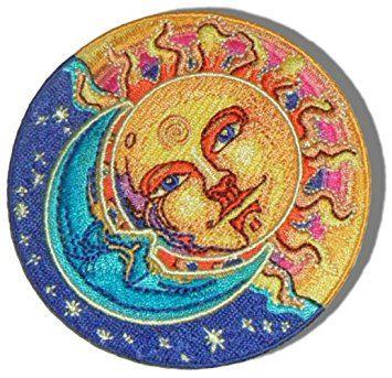 SUN MOON STARS SUN MOON STARS WOVEN PATCH HIPPY WOODSTOCK IRON ON//SEW ON
