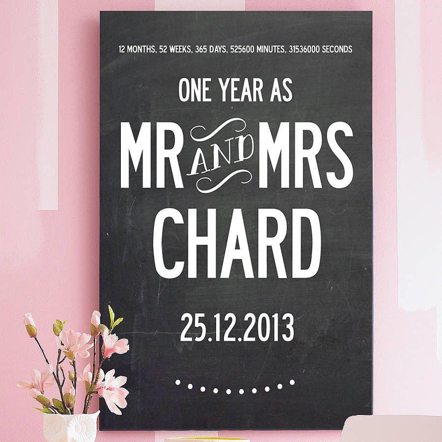 First Wedding Anniversary Print Personalised 1st wedding