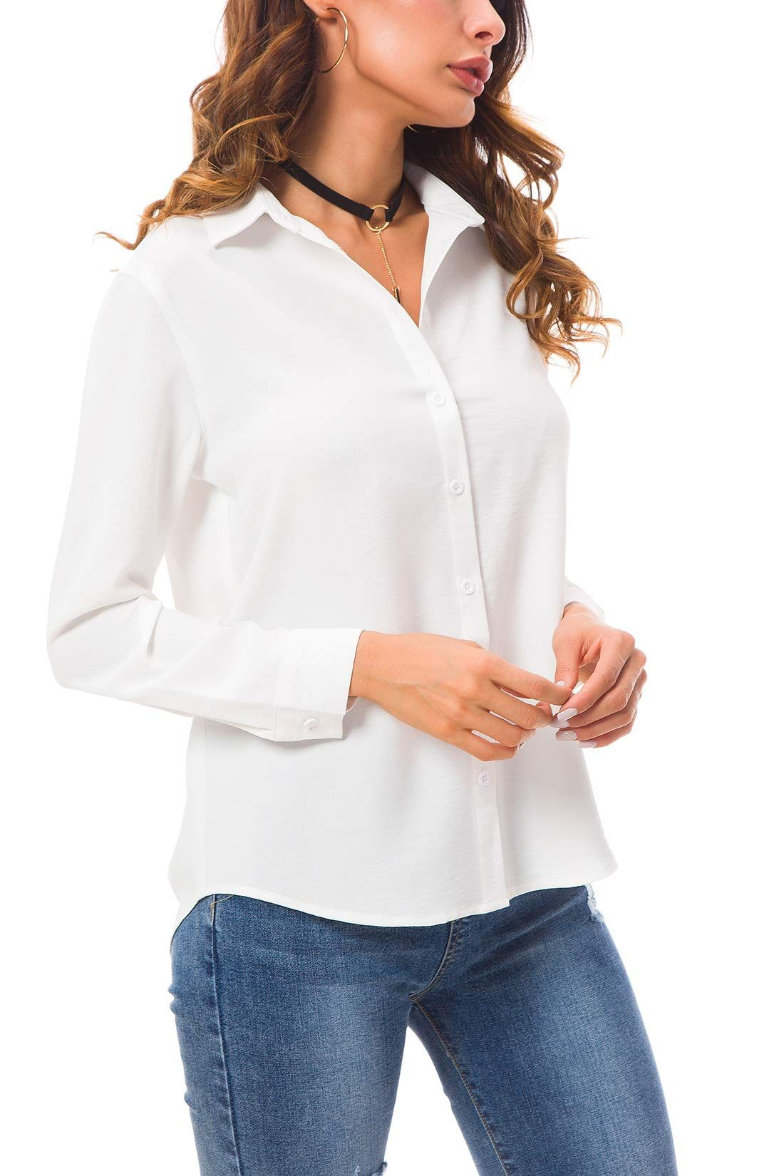 a64d48de0 CantonWalker Womens Long Sleeve Shirt Loose Casual Button Professional  White Shirt 5005 S White ** See this great product. (This is an affiliate  link) # ...