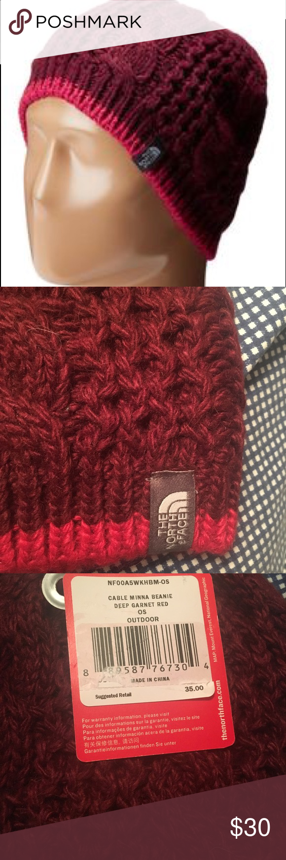 2aa4318e8e9 BRAND NEW NORTH FACE BEANIE Cable Minna Beanie ( deep garnet red ) North  Face Accessories Hats