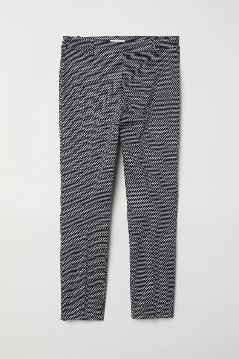 Black Patterned Ankle Length Slacks In Woven Stretch Fabric With A Regular Waist Concealed Side Zip Mock Back Pockets A Pants For Women Chino Dress Clothes [ 1200 x 800 Pixel ]