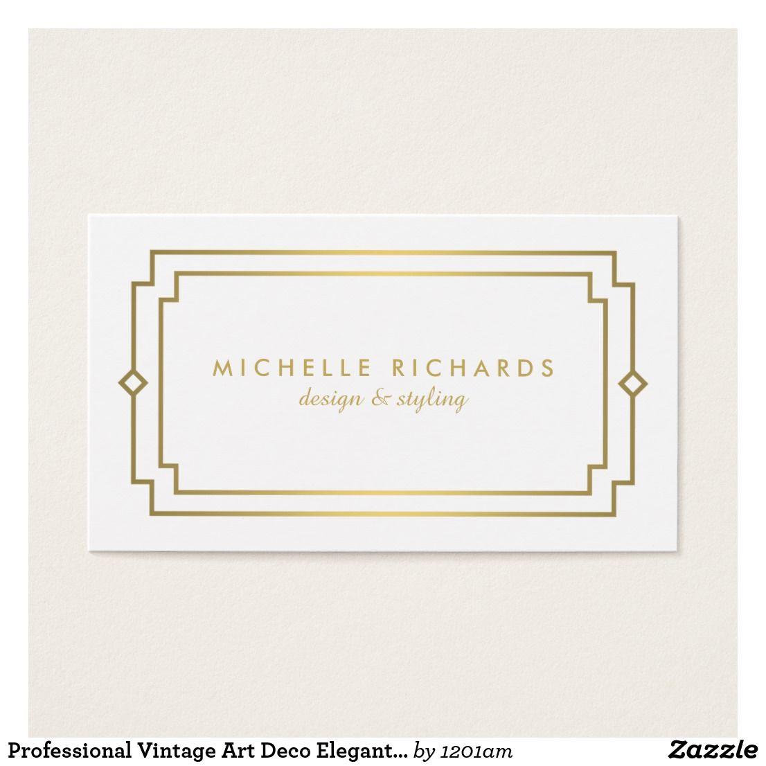 Professional vintage art deco elegant gold white business card professional vintage art deco elegant gold white business card reheart Gallery