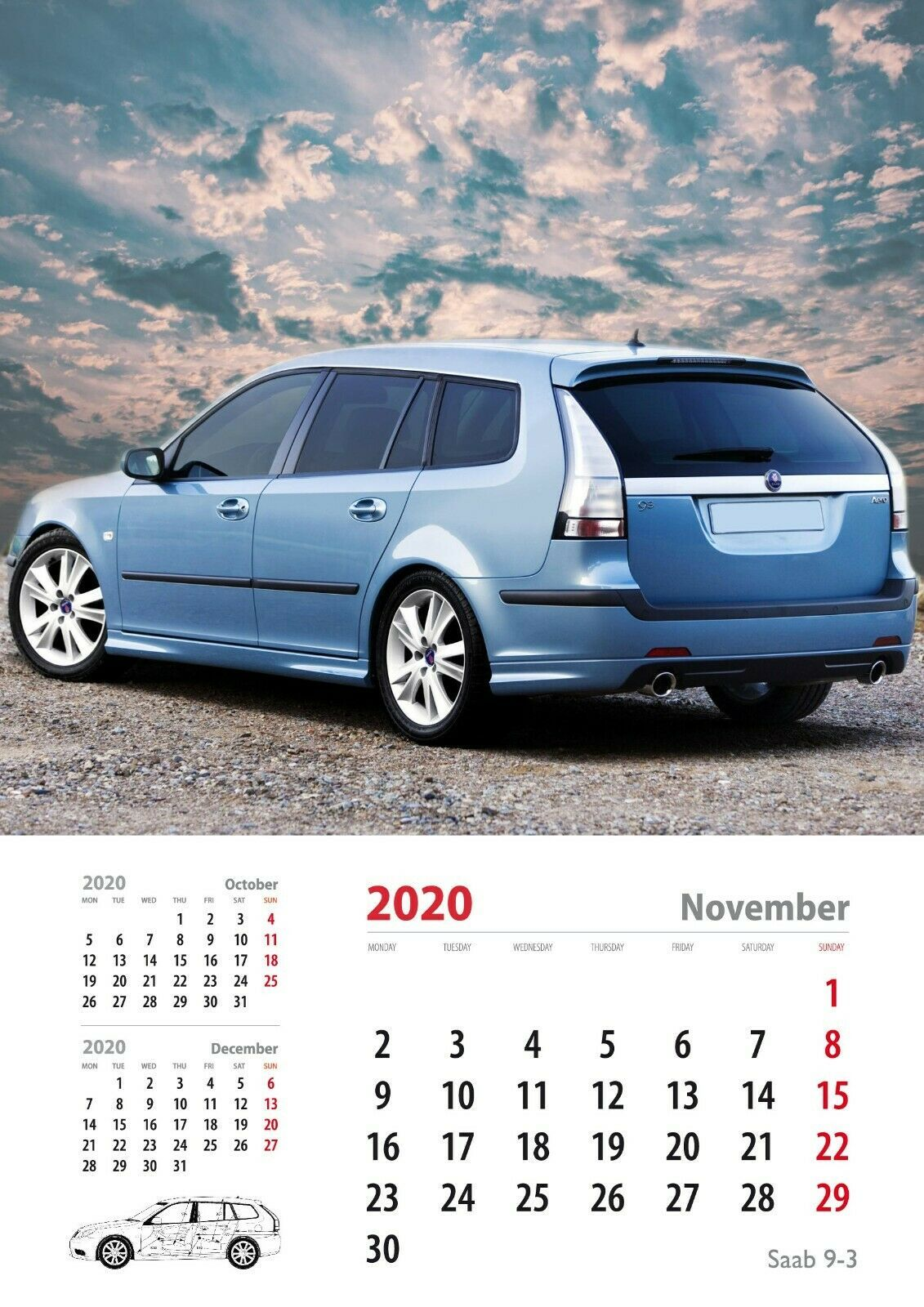 SAAB Heritage Calendar 2020, SAAB 93, November Saab