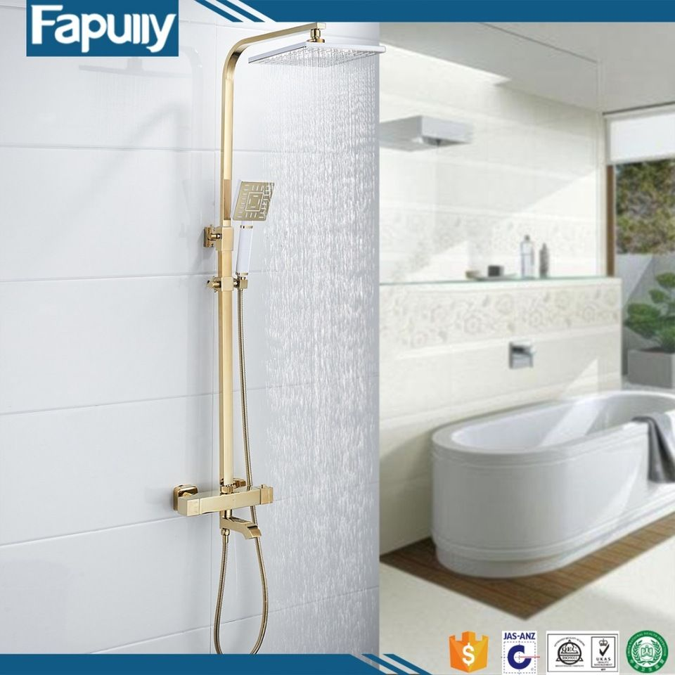 Fapully Brass Shower Faucet Body Valve Concealed Square Bath Shower ...