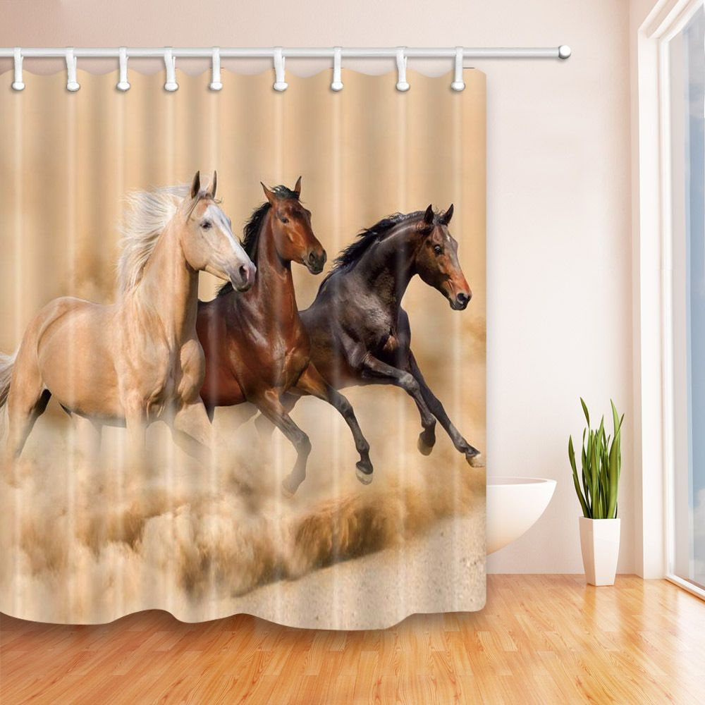 Details About Horses Run In The Desert Waterproof Shower Curtain Set Country Western Bathroom Western Bathrooms Shower Curtain Sets Western Bathroom Decor
