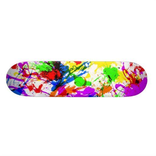 Cute colorful splatter paint design skateboard design for Best paint for skateboard decks
