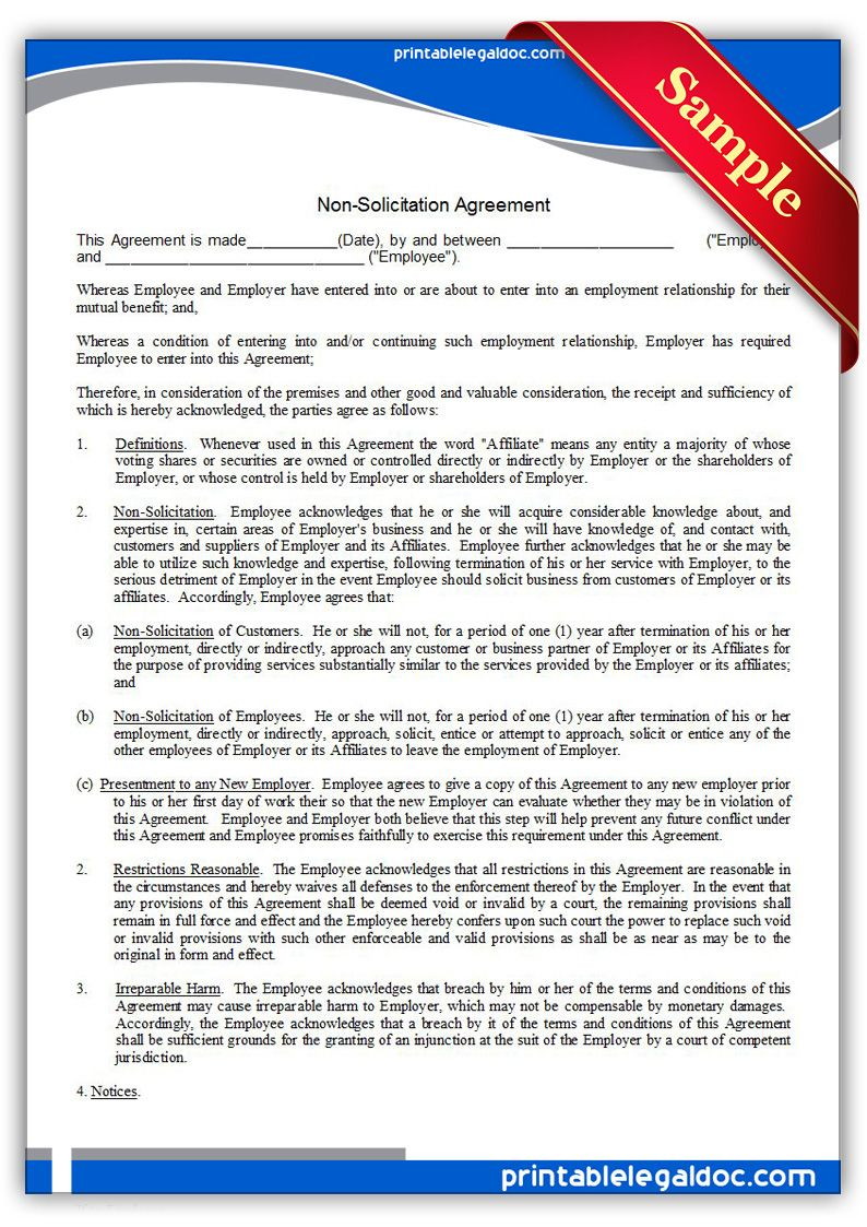 Free Printable Nonsolicitation Agreement Form Generic Legal