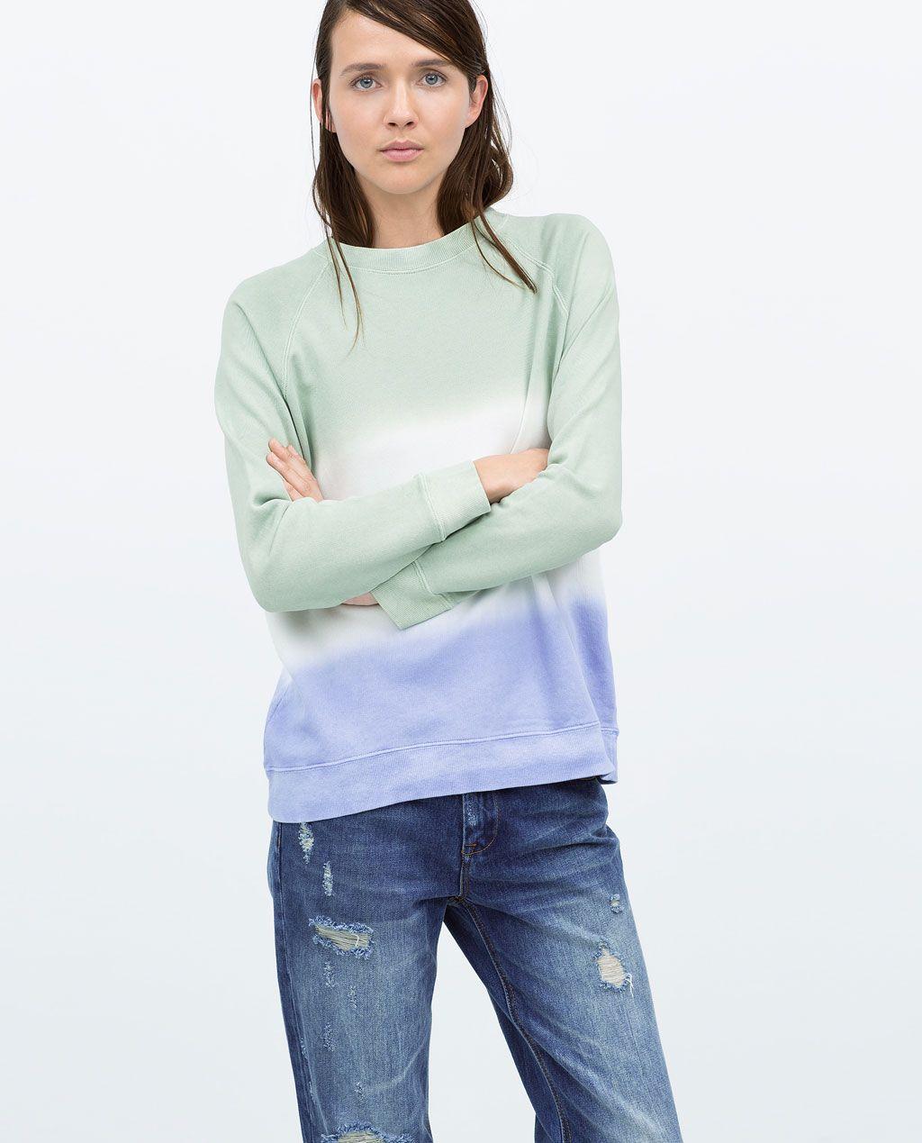 Tie Dye Sweatshirt T Shirts Woman Zara United Kingdom Sweatshirts Tie Dye Sweatshirt Sweatshirts Women [ 1269 x 1024 Pixel ]