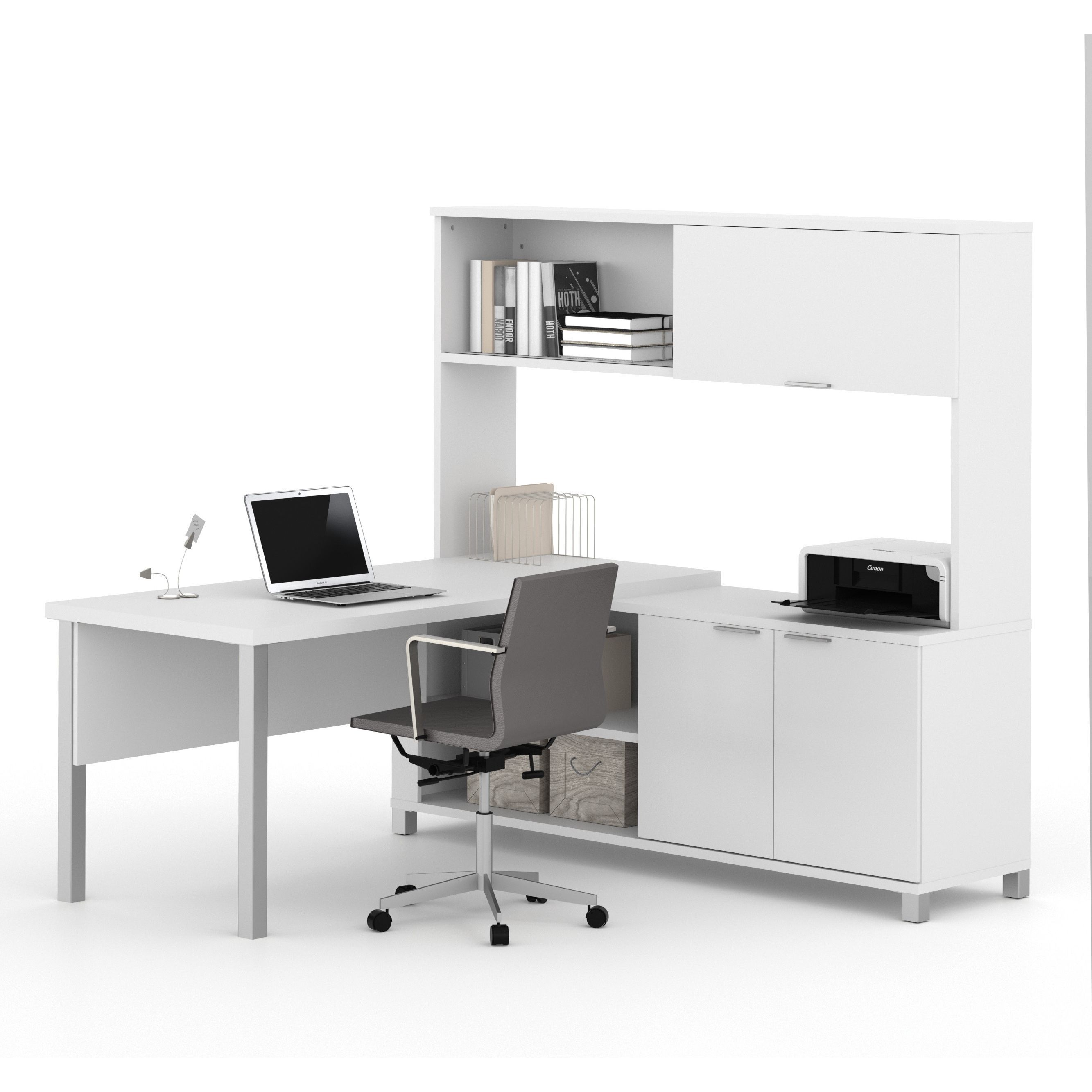 Bestar Pro-Linea L-Desk with Hutch | Products | Pinterest | Desks ...