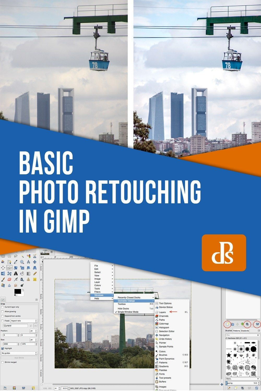 How To Use Gimp For Basic Photo Re Touching Gimp Photo Editing Photo Retouching Gimp