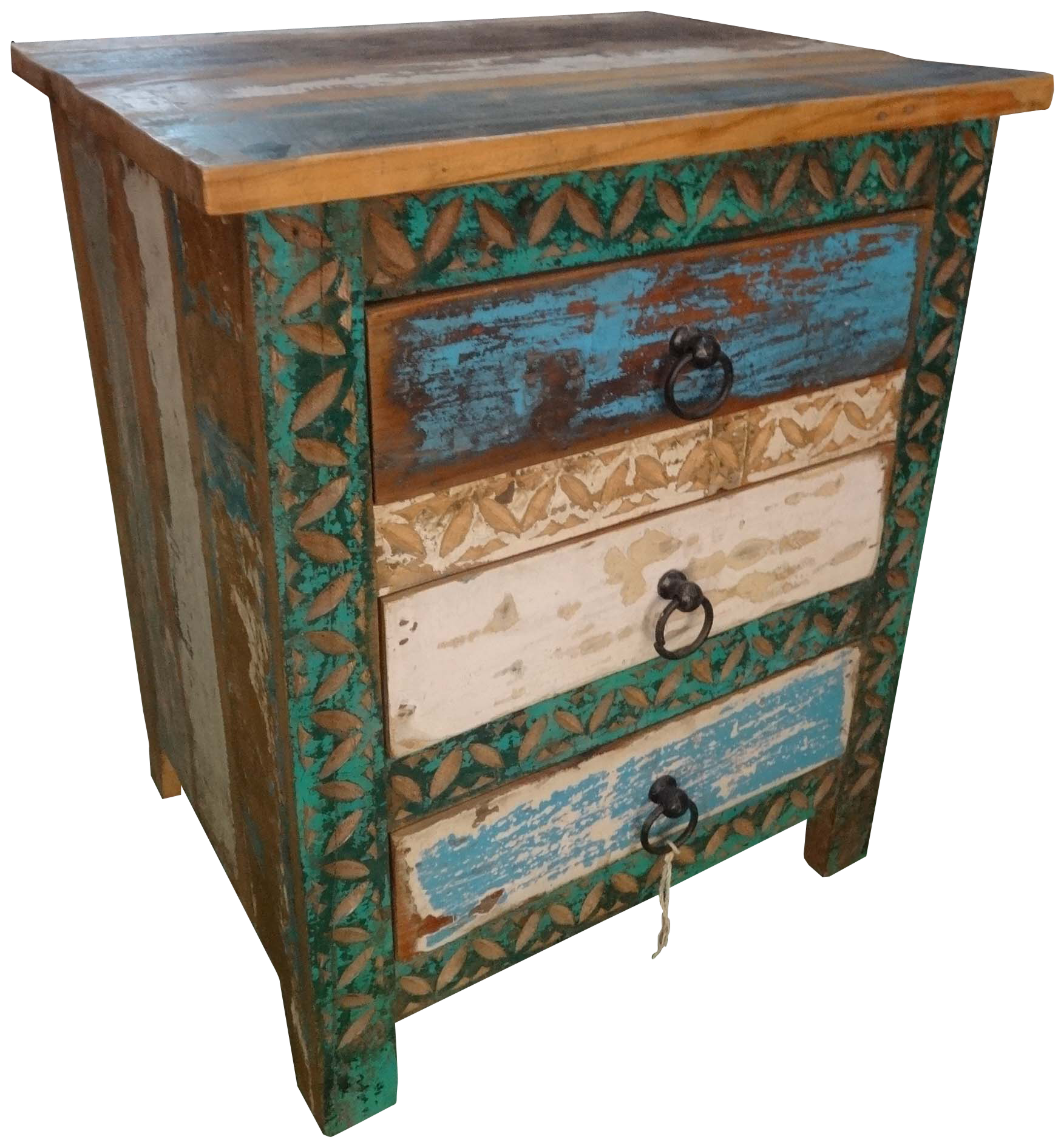 Recycle Wood Drawer Cabinet With Ethnic Carving. Typical Jodhpur Furniture