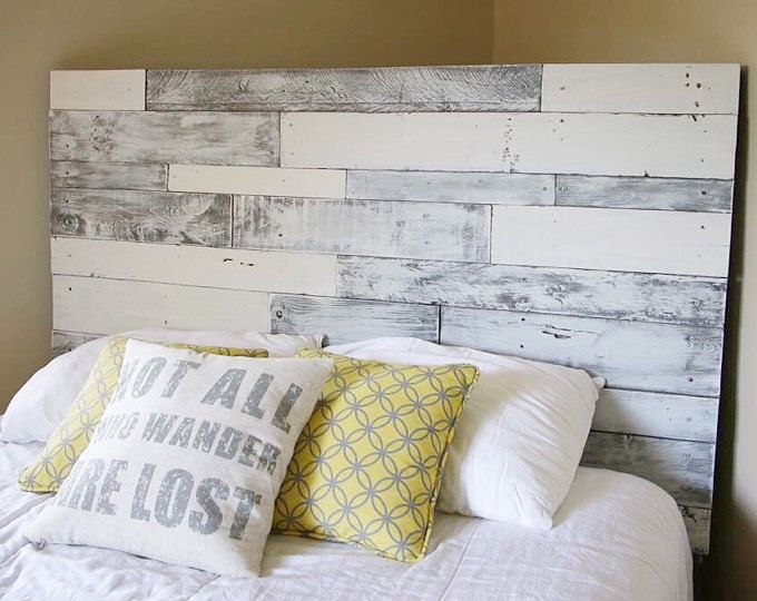 Rustic reclaimed pallet wood chevron headboard local - Cabeceros madera palets ...