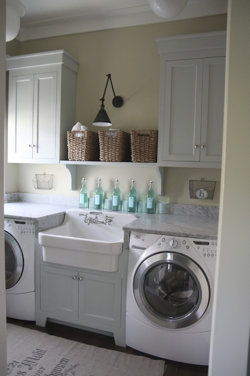 Laundry Mud Rooms Green Gray Walls Woven Baskets White Shaker