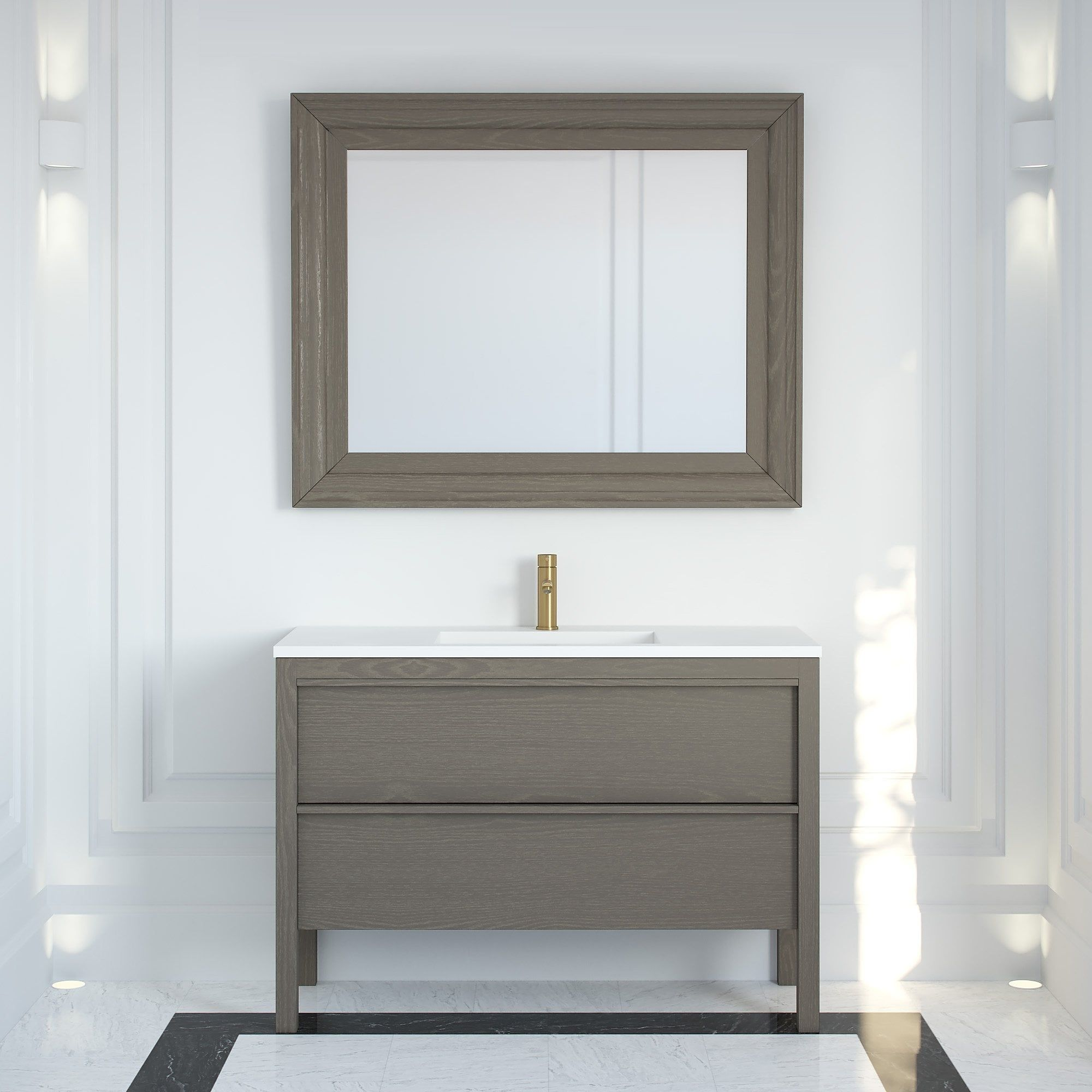 Langham Mirror Grey Oak 1200 In 2020 Bathroom Freestanding Freestanding Vanity Unit Vanity Units